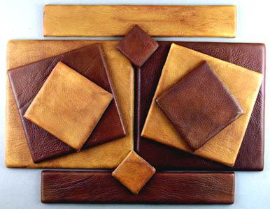 Bronze and brass tiles that look like leather Up to 8 Inch x 8 Inch