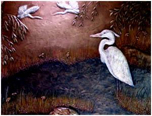 Heron Dance 24 Inch x 18 Inch Add matching side pieces for up to 36 Inch x 18 Inch